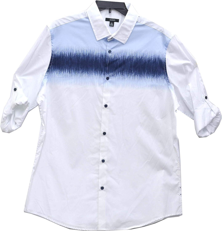 Alfani by Macy's Dodger Distorted-Stripe Long Sleeve Turn Cuff Dress Shirt White Large