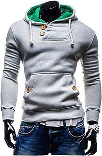 Mens Pullover Hoodies Coat Color Block Hooded Sweatshirt Tops Sport Outwear