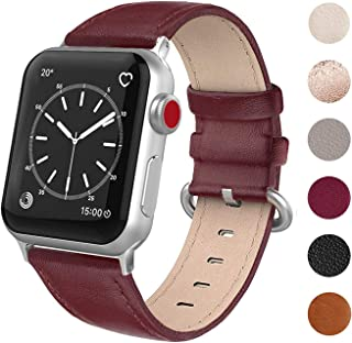SWEES Leather Band Compatible for iWatch 38mm 40mm, Genuine Leather Soft Replacement Strap Compatible iWatch Series 5, Series 4, Series 3, Series 2, Series 1, Sports & Edition Women, Wine Red