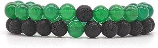 Set Coppia Bracciali Distanza Agata Verde e Pietra Lavica, fatti a mano