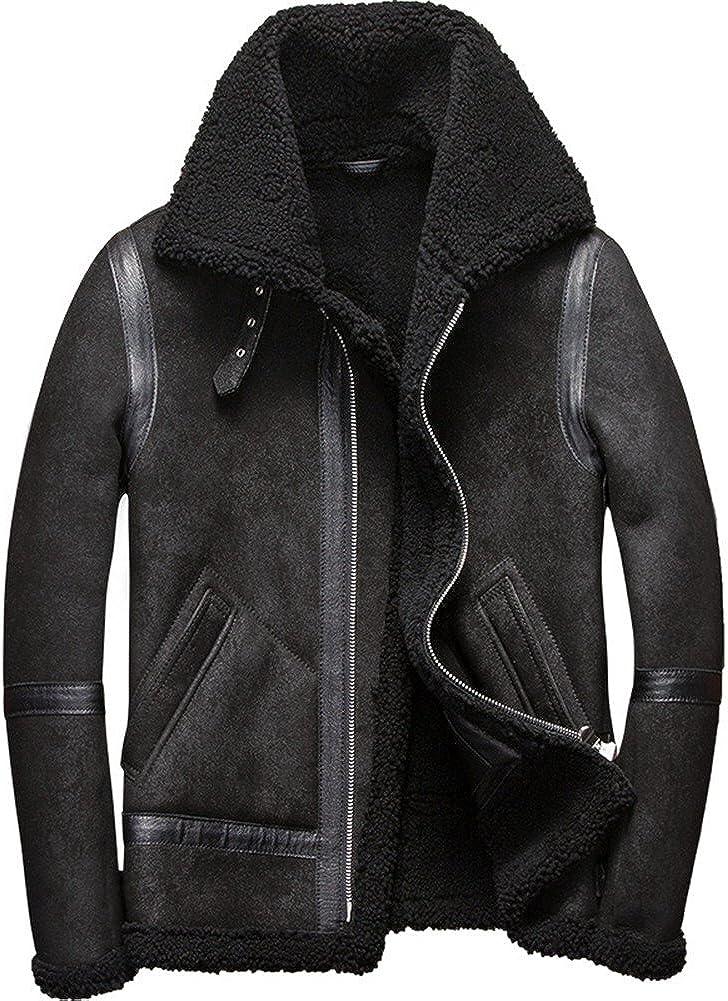 Mens Shearling Coat Mens Fur Coat Matte Black Sheepskin Pilot Leather Jacket