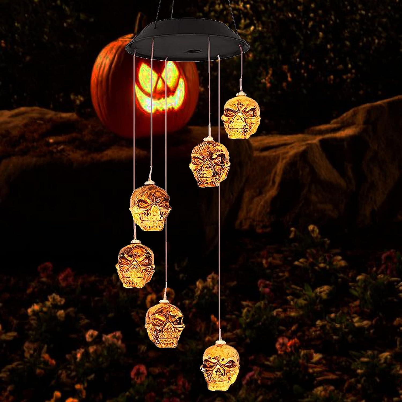 YOU&AI Lighting Wind Chimes Outdoor,Solar Powered Lights Skeleton Skull LED Lamp Decor for Garden Yard Funny Gift