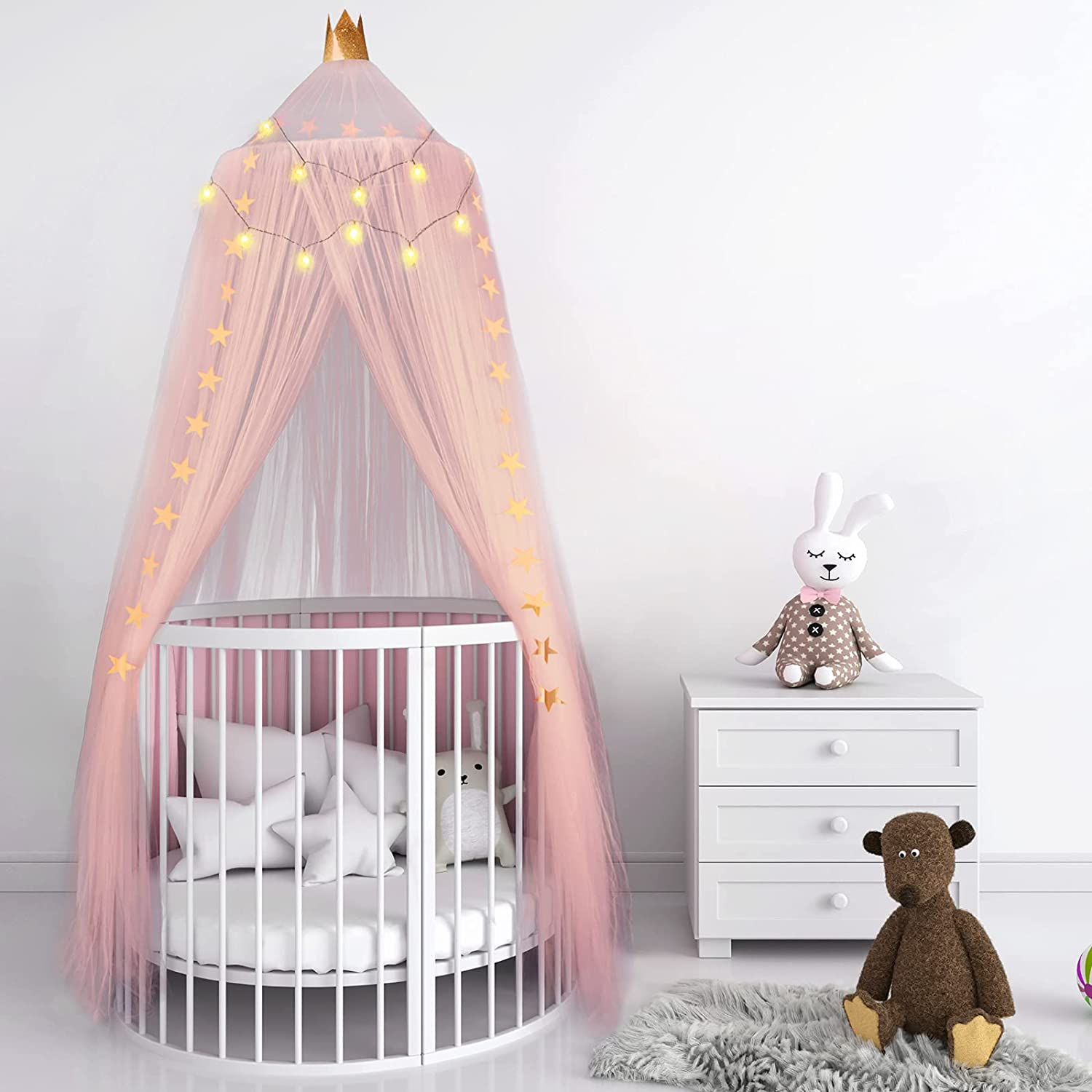 Crib Princess Bed Canopy Yarn Net Bed Canopy Breathable Dome Tent Baby Crib Crown Canopy Indoor Outdoor Castle Hanging Decor with Star Light String 94.5 x 23.6 Inch for Kids Room Bed (Pink)