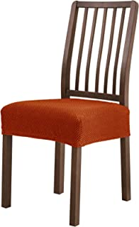 Subrtex Dining Room Chair Seat Slipcovers Sets, Removable Washable Elastic Cushion Covers, High Stretch Furniture Protector (2PCS, Orange Jacquard)