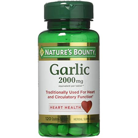 Nature's Bounty Garlic, 2000mg, 120 Coated Tablets (Pack of 2), 2 Bottles Each of 120 Tablets