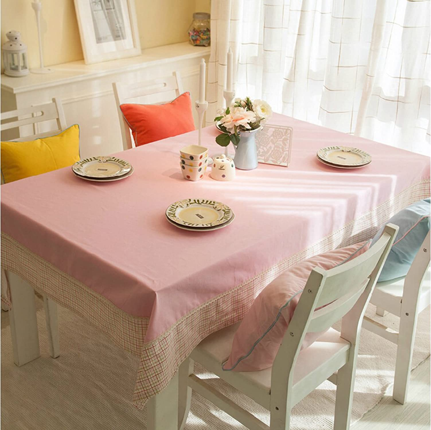 JFFFFWI Nappe de Coton Tissu de Table Rose Nappe -A 180x130cm(71x51inch)