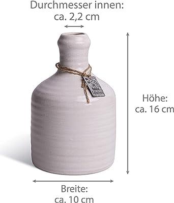 Juego de 2 jarrones de cerámica, 16 cm de alto, como decoración para cocina, baño, como jarrón de mesa en el salón, balcón o jardín, en blanco craquele, como regalo para Pascua