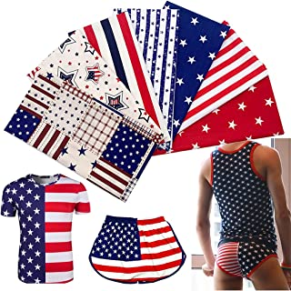 "EBSTL 7pcs Fat Quarter 19.6"" x 19.6""(50cm x 50cm) 100% Cotton Fabric Patriotic Decoration American Flag Star Independence ..."