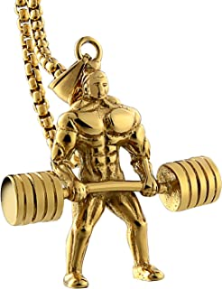 Necklace Gold Men 18K Women Pendant Male Fitness Hercules Barbell Weightlifting Pendants Chains 55CM