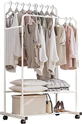 House of Quirk Clothing Rack with Wheels Double Rails Garment Rack Rolling Rack for Indoor Bedroom Clothes Rack Max Load 110LBS White Shelf on Wheels DIY- Do it Yourself - White