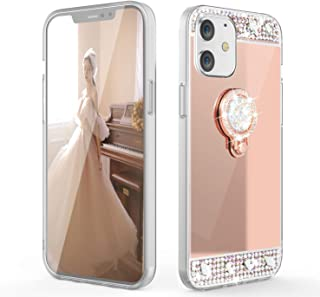 WATACHE for iPhone 12 Case,for iPhone 12 Pro Case, Luxury Glitter Shiny Cute Diamond Mirror Makeup Case for Girls Finger R...
