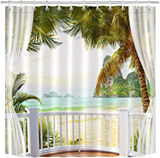 LB Tropical Beach Shower Curtain,3D Printing Palm Trees Mountain Beautiful Ocean Scene Bathroom Curtains,Waterproof Fabric 72x72 Inches with Hooks