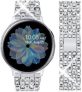 باند جواهرات گوتون سازگار با گروه فعال سامسونگ گلکسی ساعت ، بانوان مردانه Bling Diamond Crystal Strap 20 میلی متر دستبند جایگزین فلز ضدزنگ برای Galaxy Watch 42mm (نقره 20 میلی متر)
