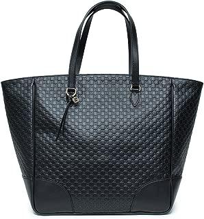 Gucci Women's Microguccissma Soft Calf Leather Black Large Top Zip Tote 449242