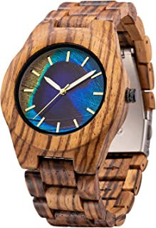 Men's Wood Watch, Unique Peacock Feather Design, Amazing Thanksgiving Christmas