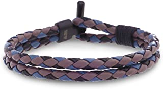 """Ben Sherman 7.5"""" Purple, Black, and Blue Braided Double Stranded Leather Bracelet for Men in Black IP Plated Stainless Steel"""