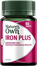 Nature's Own Iron Plus - Produces Red Blood Cells - Maintains Immune Health - Packed With Vitamins, 50 Tablets