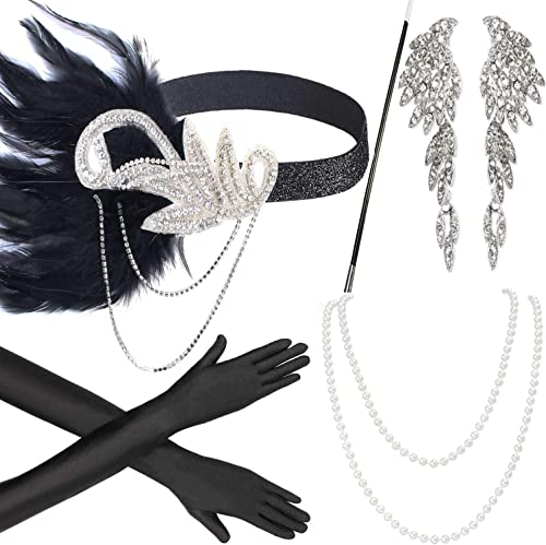 Beelittle 1920s Women Accessories 20s Flapper Costume Gasty Headband Earrings Necklace Gloves Cigarette Holder