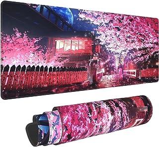 Japanese Sakura Anime Extended Mouse Pad 31.5x11.8 Inch XL Pink Cherry Blossom Flower Non-Slip Rubber Base Large Mousepad ...