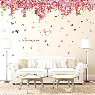 Oren Empower Cherry Blossom Flowers Tree Wall Art Wall Sticker (237 cm x 92 cm, Pink, Pack of 2) (AY239)