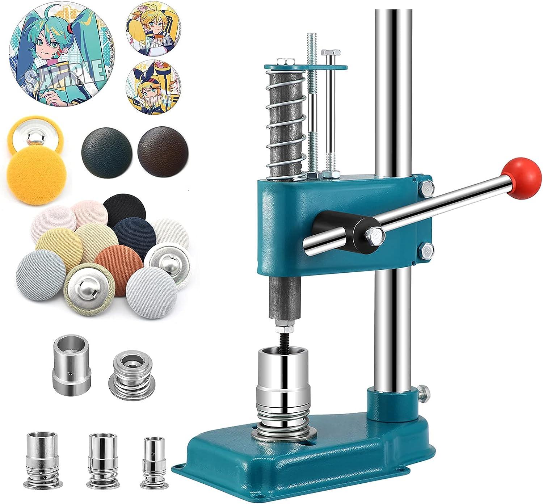 KKTECT Máquina de Fabricación de Botones con 3 moldes 18/25/ 30mm, 300 Botones de Piezas Máquina para Hacer Insignias de Herramientas de Bricolaje Máquina para Hacer Botones Manual
