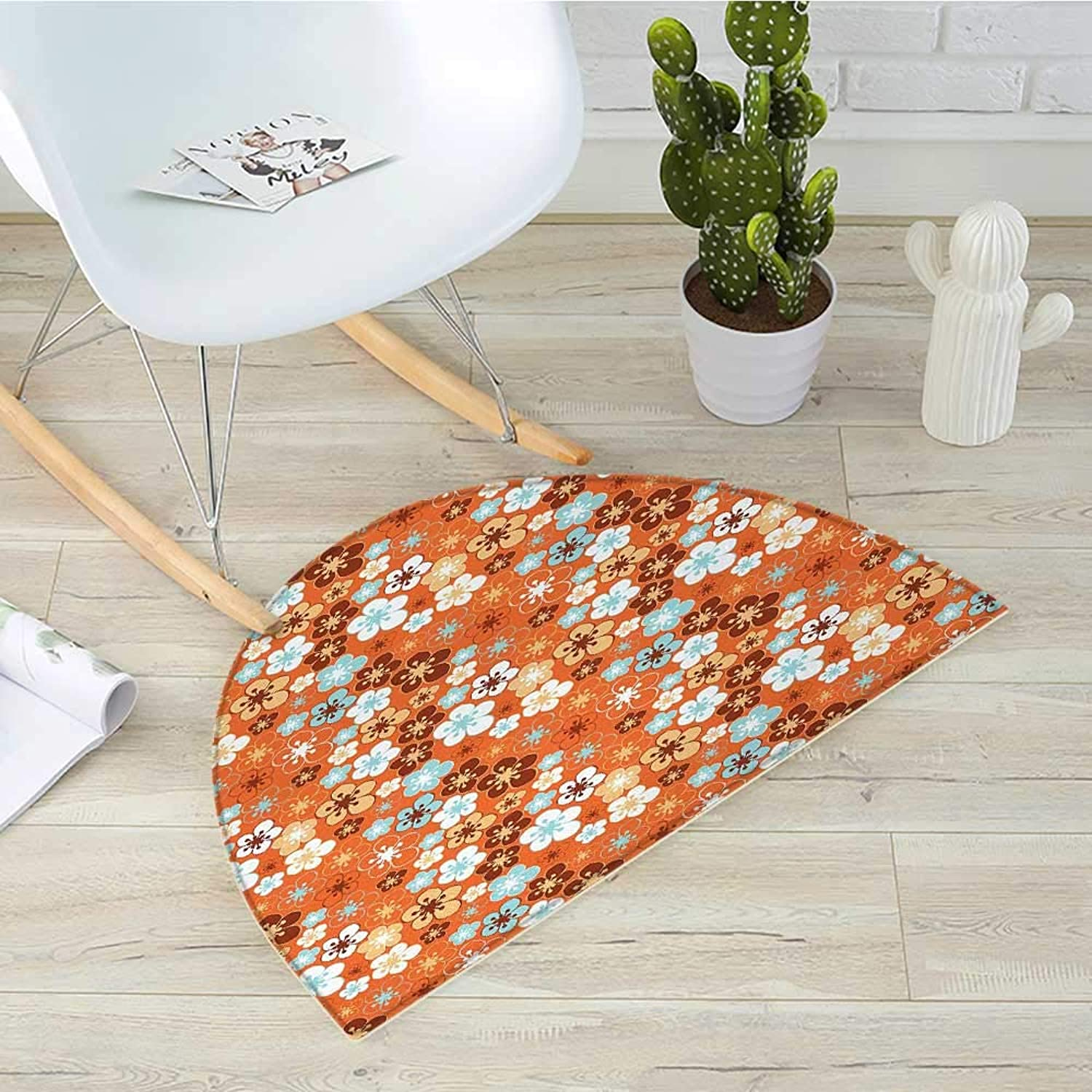 orange Semicircular CushionCute Old Fashioned Doodle Flora Abstract Blooming Meadow in Summer Theme Entry Door Mat H 35.4  xD 53.1  Sky bluee orange Brown