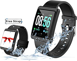 2019 Version Smart Watch for Android and iOS Phones with Heart Rate and Blood Pressure Monitoring, Sleep Monitoring, Information Alerting & Motion Monitoring Waterproof Fitness Tracker for Men, Women