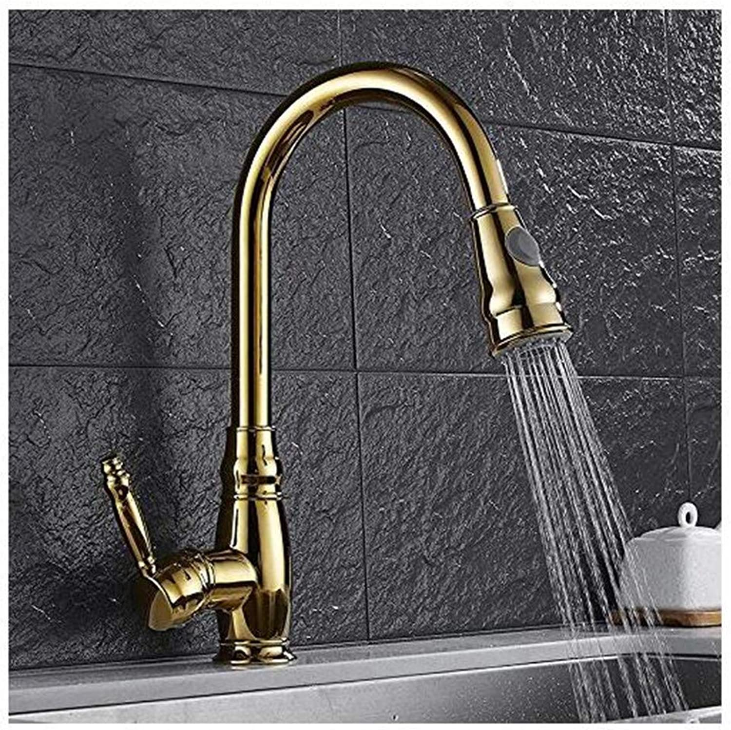 Chrome Brass Kitchen Faucet Kitchen Faucets golden golden golden Mixer Cold and Hot Kitchen Tap Single Holder Single Hole Pull Out Mixer Tap 360 Degree 3f6662