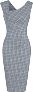 MUXXN Women's Vintage Style Sleeveless Plaid Pattern Work Pencil Dress