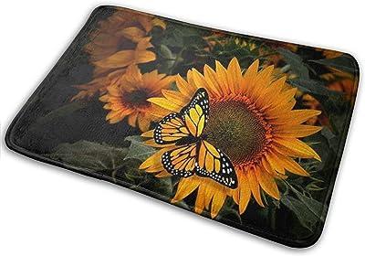 Beautiful Sunflower Butterfly Bath Mat Art Flower Insect Non Slip Super Bathroom Rug Indoor Carpet Doormat Floor Dirt Trapper Mats Shoes Scraper 24x16 Inch