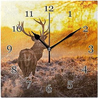 Djur hjort skog träd väggklocka tyst icke-tickande fyrkantig konstmålning klocka för hem kontor skoldekor
