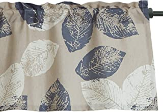 VOGOL Leaves Print Faux Linen Curtains Valance for Bedroom, Rod Pocket Valance for Windows, 52 x 18 Inch