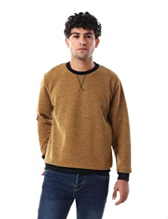 Off Cliff Plain Banded Trims Long Sleeves Crew Neck Sweatshirt for Men