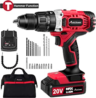 """20V Max Lithium-Ion Cordless Hammer Drill/Driver, 1/2"""" Keyless Chuck, Max Torque 405 In-lbs,2-Speed, 1 Hour Fast Charger, 20+1 Position, LED Light, 25pcs Accessories, MW326H"""