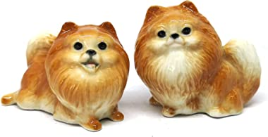 ZOOCRAFT Ceramic Miniatures Figurine Pomeranian Dogs Statue Standing Brown Pets Lovers Collectible Set of 2
