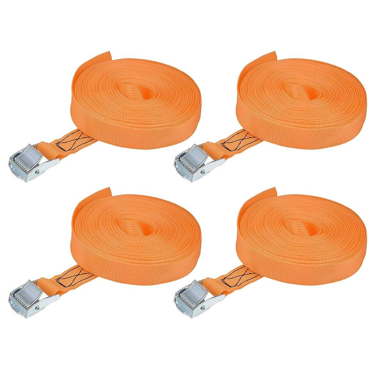 変更可能ロッジ無能uxcell 荷物ストラップ ラチェット式 ベルト 荷物固定ロープ 荷物落下防止 オレンジ ポリプロピレン 亜鉛合金 カムバックル付き 250Kg作業負荷 10Mx25mm 4個入り