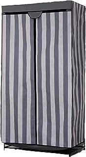 Nomade Penderie avec Housse en Tissu Gris imprimé Bayadère 87 x 50 x 156 cm