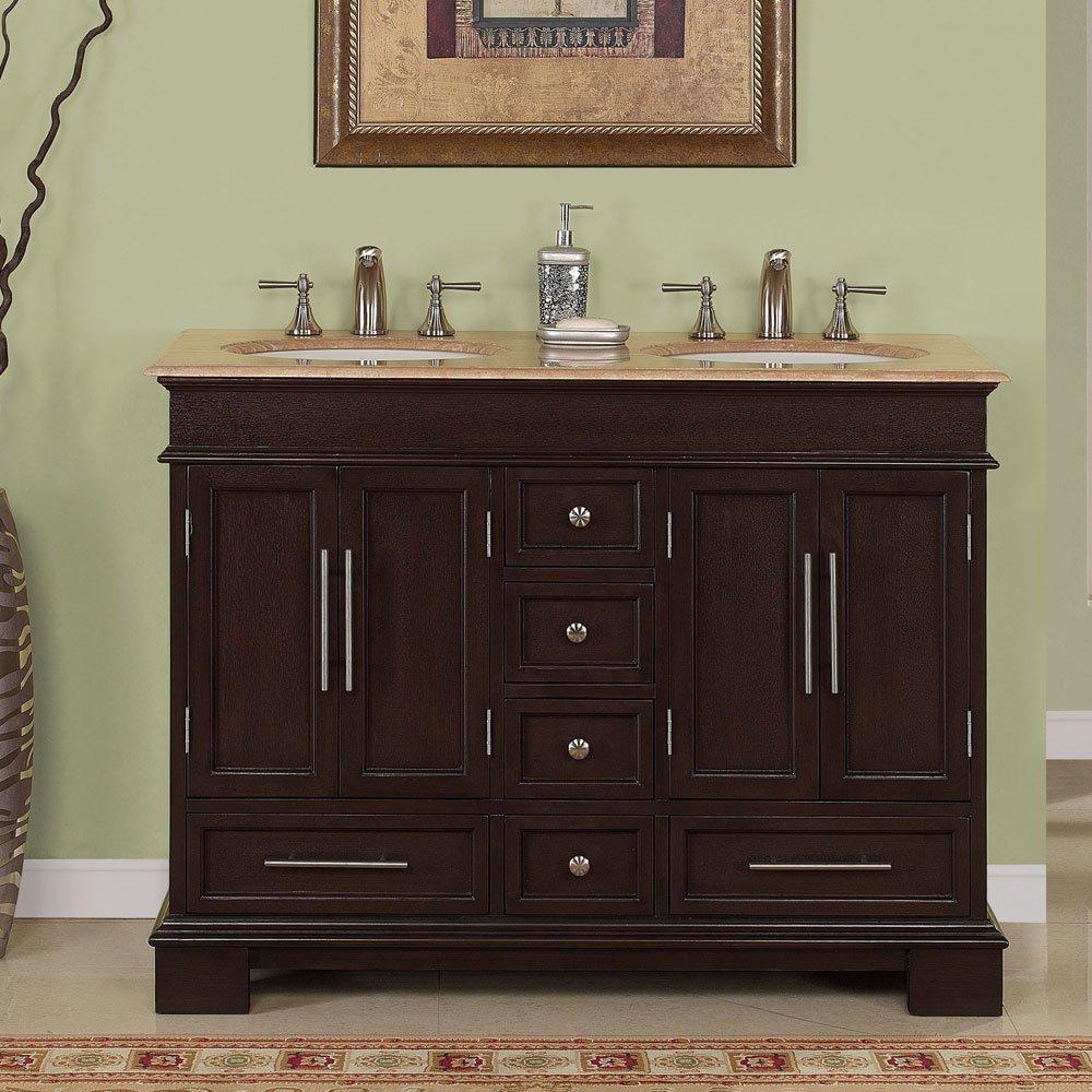 48 Double Sink Travertine Top Bathroom Vanity Cabinet Lavatory Furniture 224t Amazon Com