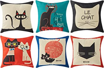 Top Finel Square Decorative Throw Pillow Covers Cotton Linen Outdoor Cushion Covers 18 X 18 for Sofa Bed, Set of 6, Cats