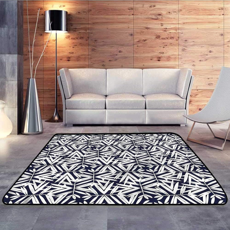 Carpet mat,Bamboo,Exotic Tree Leaves RetroW 47  x L59 Floor Mat Entrance Doormat