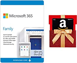 Microsoft 365 Family 12-month subscription with Auto-Renewal + $50 Amazon Gift Card