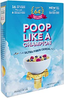 Poop Like A Champion✅Highest fiber content per 30g than any other cereal on the market 100% of daily fiber in 1.6 servings - CLEAN LABEL PRODUCT! NO Wheat - Keto friendly - Low Carb -100% Gluten FREE