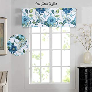 H.VERSAILTEX Blackout Curtain Valances for Small Window, Energy Saving Curtain Valances Matching with Curtain Panels for Kitchen (Rod Pocket, 52 by 18 Inch, Paisley Floral Pattern Blue)