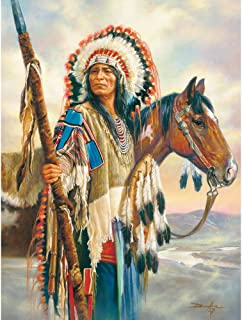 Bits and Pieces - 300 Large Piece Jigsaw Puzzle for Adults - The Last Chief - 300 pc Native American Jigsaw by Artist Russ Docken