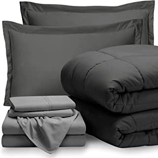 Bare Home Bed-in-A-Bag 7 Piece Comforter & Sheet Set - California King - Goose Down Alternative - Ultra-Soft 1800 Premium - Hypoallergenic - Breathable Bedding Set (Cal King, Grey/Light Grey)