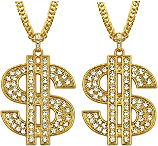 سلسلة مطلية بالذهب قلادة دولار للرجال مع قلادة علامة الدولار من جينو يو قلادة علامة الدولار - 2 قطعة