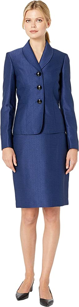 Button Shawl Collar Novelty Skirt Suit