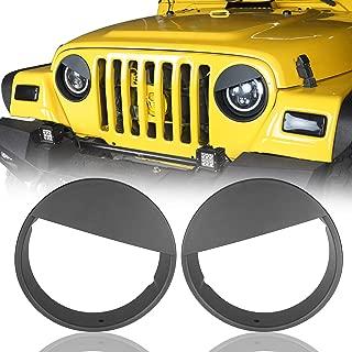Hooke Road Jeep Wrangler Matte Black Angry Bird Headlight Bezels Cover for 1997-2006 Jeep Wrangler TJ - Pair