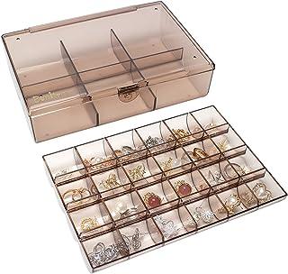 صندوق مجوهرات من طبقتين من بينتيد، منظم للأكسسوارات، حاوية تخزين الخرز، حقيبة تخزين محمولة مقاومة للغبار ومضادة للماء للخو...