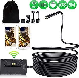 Endoscopio Cámara de Inspección del Endoscopio Inalámbrico en HD Serpiente Wifi Compatible con Android e IOS Impermeable Boroscopio Semirrígido de 55 mm con Cable Semirrígido de 19685 Pulgadas